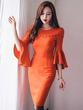 Ericdress Ruffle Sleeve Patchwork Women's Bodycon Dress