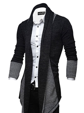 Ericdress Lapel Patchwork Slim Men's Cardigan Sweater