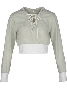 Ericdress Slim Lace-Up Pullover Short Crop Top Hoodie