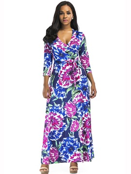 Ericdress Floral Print V-Neck Lace-Up Trumpet Maxi Dress