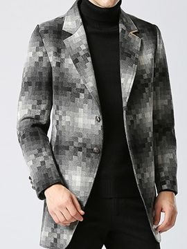 Ericdress Plaid Mid-Length Men's Trench Coat