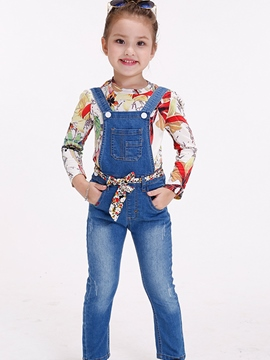 Ericdress Plain Denim With Pocket Girl's Overalls