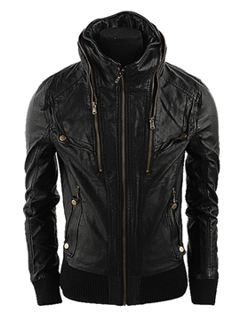 Ericdress Hooded Zipper Lace-Up Men's PU Jacket