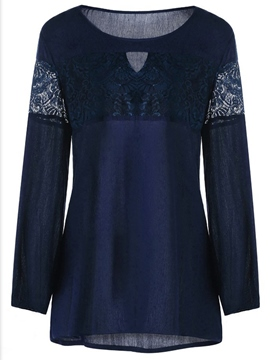 Ericdress Slim Patchwork Lace Blouse