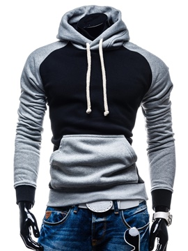 Ericdress Hooded Patchwork Slim Pullover Men's Hoodie