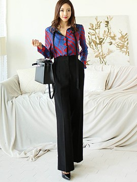 Ericdress Shirt and Wide Leg Pants Women's Suit