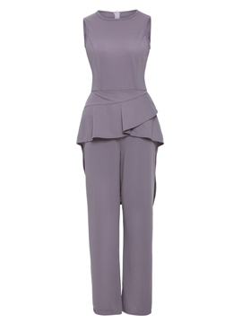Ericdress Slim Ruffles Wide Leg Women's Jumpsuit