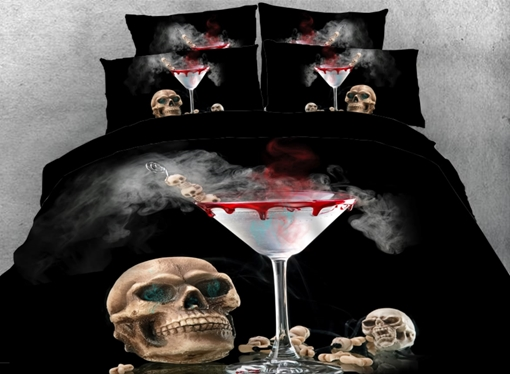 Vivilinen 3D Skull with Halloween Bloody Cocktail Printed 4-Piece Bedding Sets/Duvet Covers