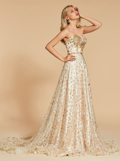 Ericdress A Line Sweetheart Beaded Backless Evening Dress