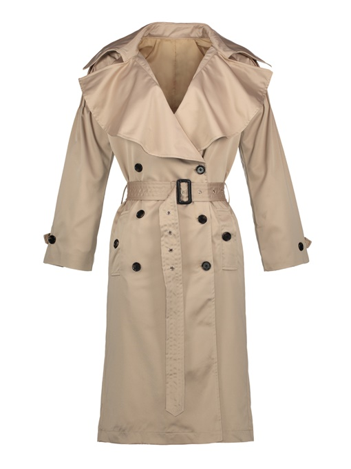 Ericdress Lapel Plain Double-Breasted Trench Coat