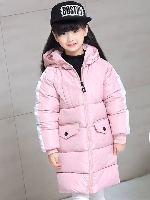 Ericdress Zipper Hooded Mid-Length Unisex Kid's Down Jacket