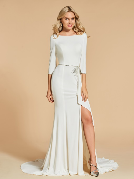 Ericdress 3/4 Sleeve Bateau Neck Beaded Mermaid Evening Dress With Side Slit