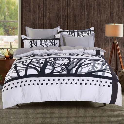 Adorila 60S Brocade Tree Branches Film Photography 4-Piece Cotton Bedding Sets/Duvet Cover