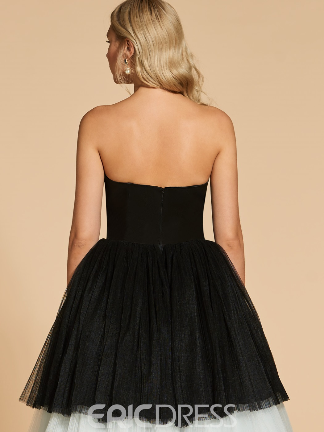 Ericdress Strapless Black And White Layered Evening Dress