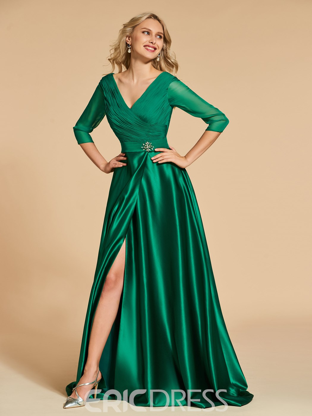 Ericdress Sexy A Line 3/4 Long Sleeve Deep V Neck Prom Dress