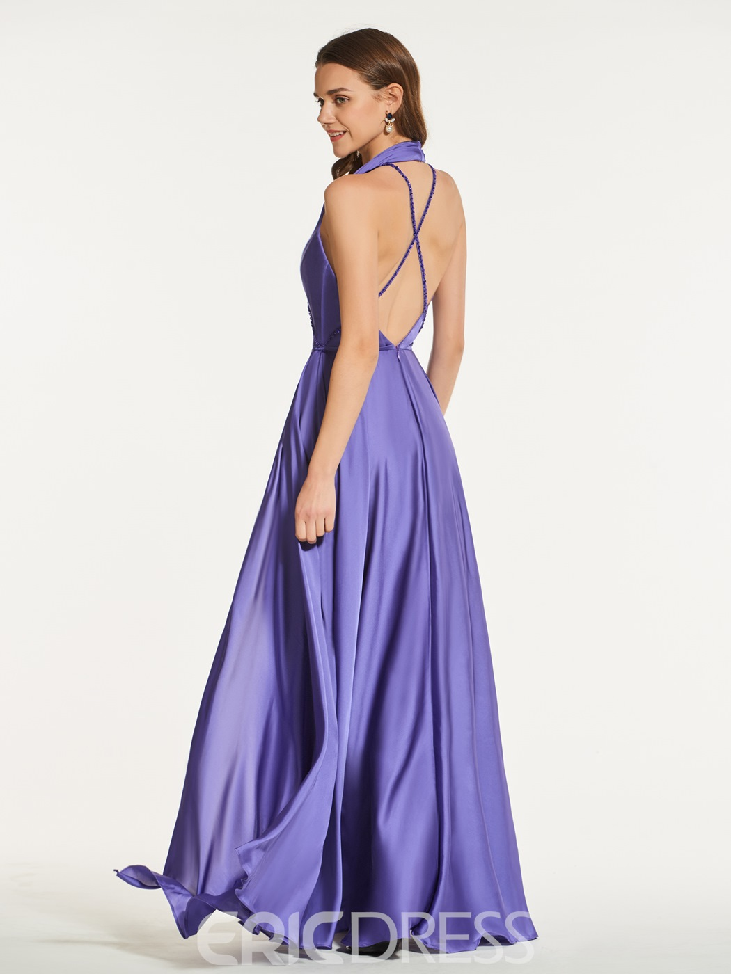 Ericdress A Line Halter Beaded Deep Neck Prom Dress With Criss-Cross Strap