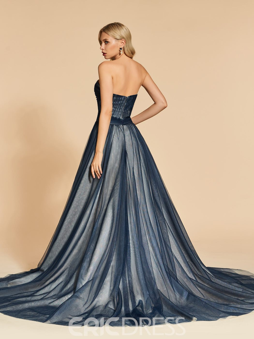 Ericdress A Line Sweetheart Pleats Long Evening Dress With Train