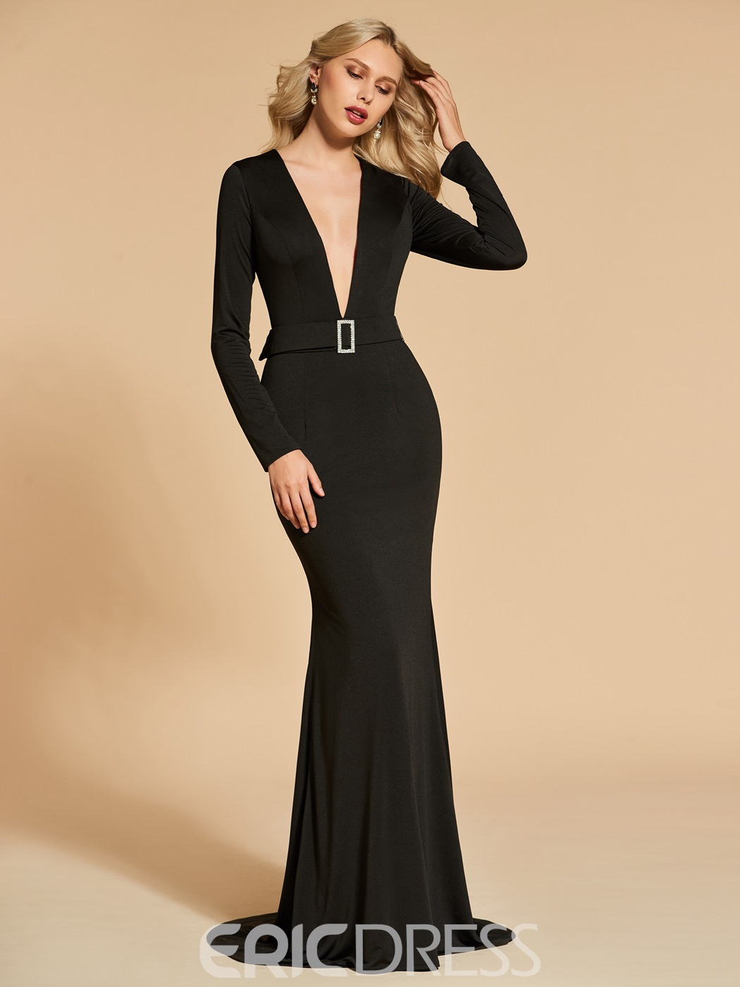 Ericdress Long Sleeve Deep V Neck Black Mermaid Evening Dress ...