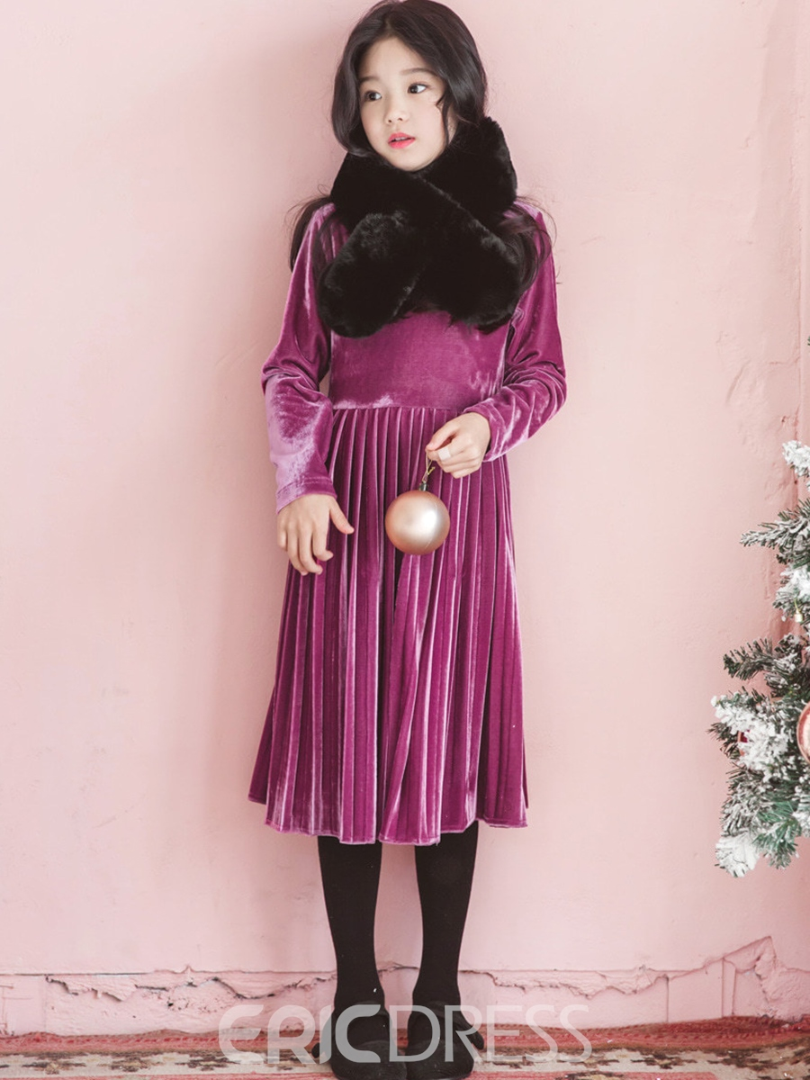 Ericdress Long Sleeve Pleated Corduroy Girl's Dress