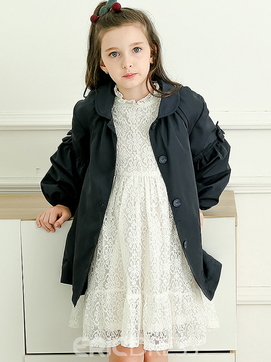 Ericdress Plain Lapel Lantern Sleeve Girl's Coat