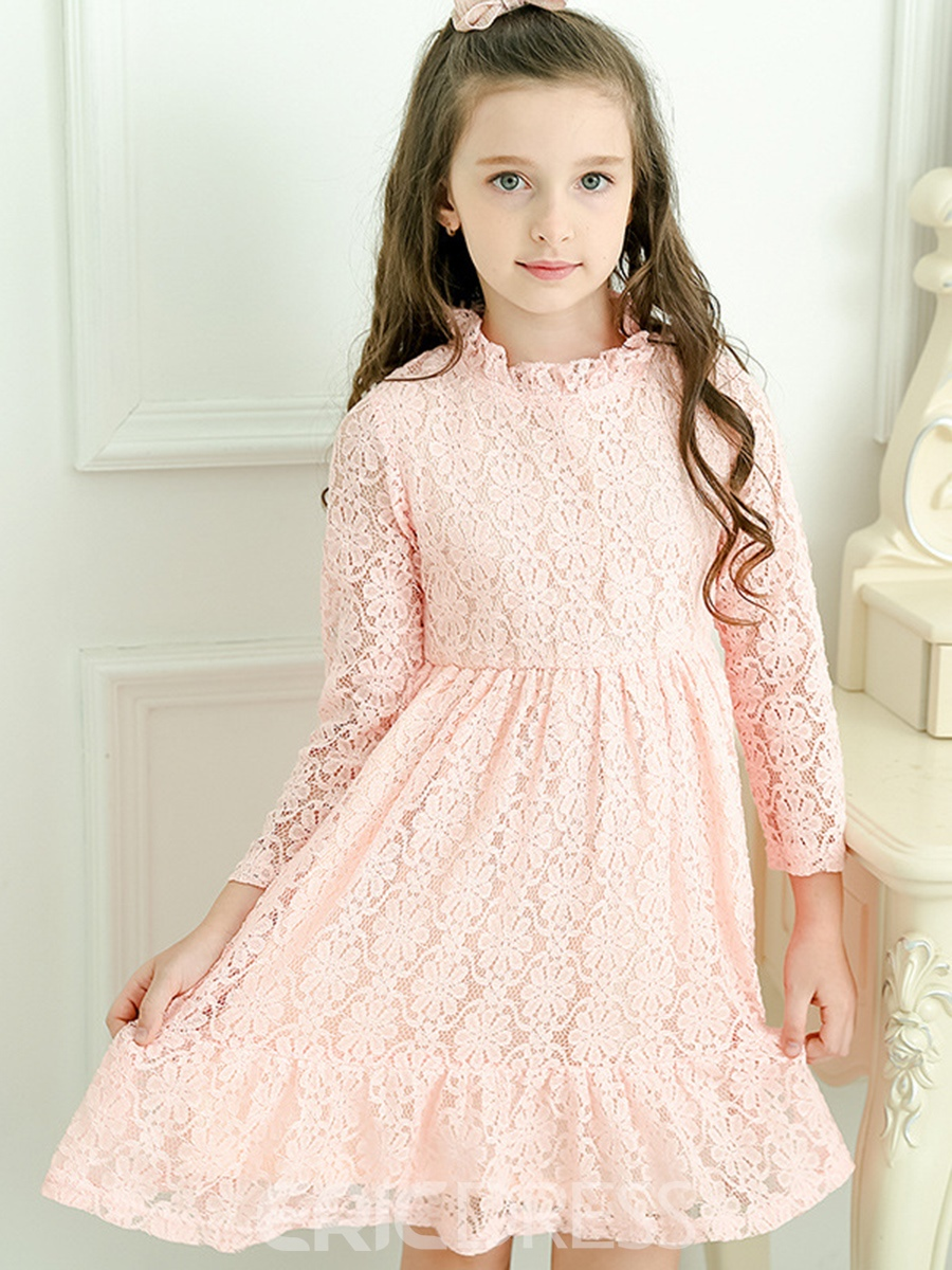 Ericdress Plain Lace Hollow Girl's Knee-Length Dress