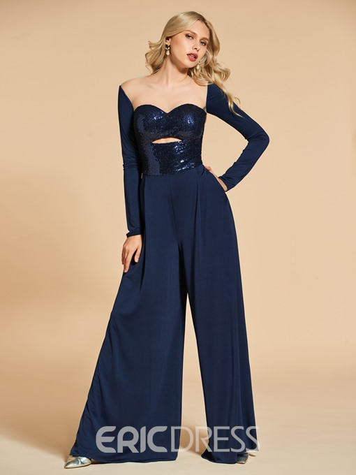 Ericdress Long Sleeve Sequin Chiffon Prom Jumpsuit