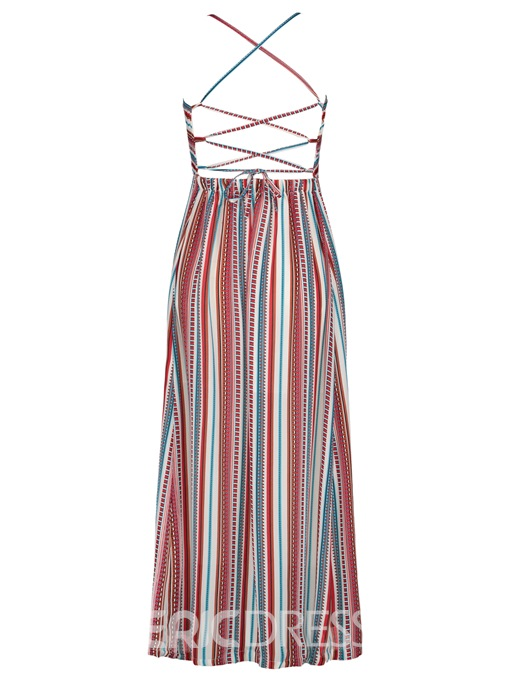 Ericdress Color Block Stripe Backless Vacation Women's Maxi Dress
