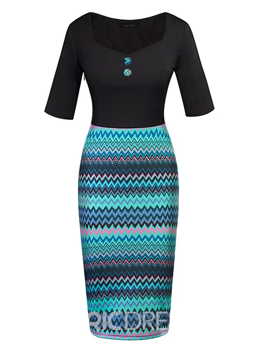 Ericdress Plus Size Button V-Neck Mid-Calf Pullover Bodycon Dress