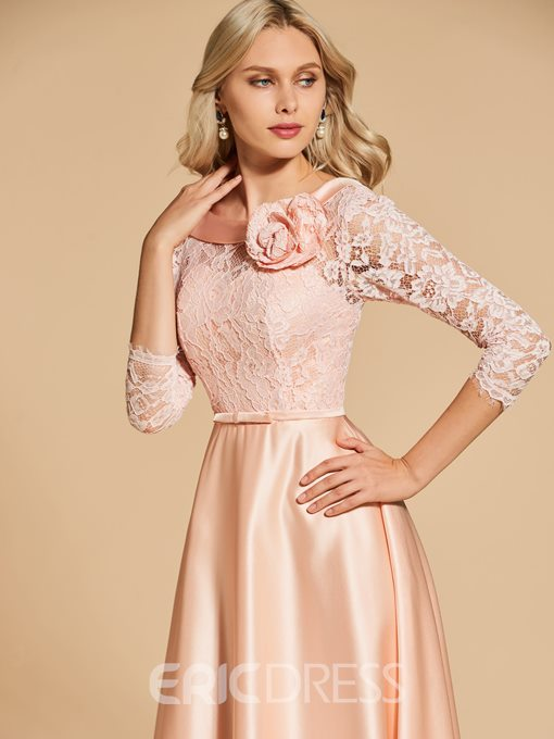Ericdress A Line 3/4 Sleeve Lace Long Evening Dress With Bowknot