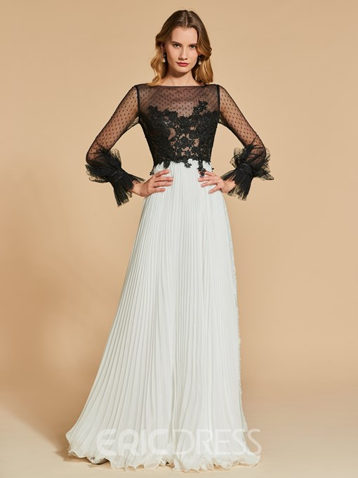Ericdress A Line Long Sleeve Applique Black And White Evening Dress