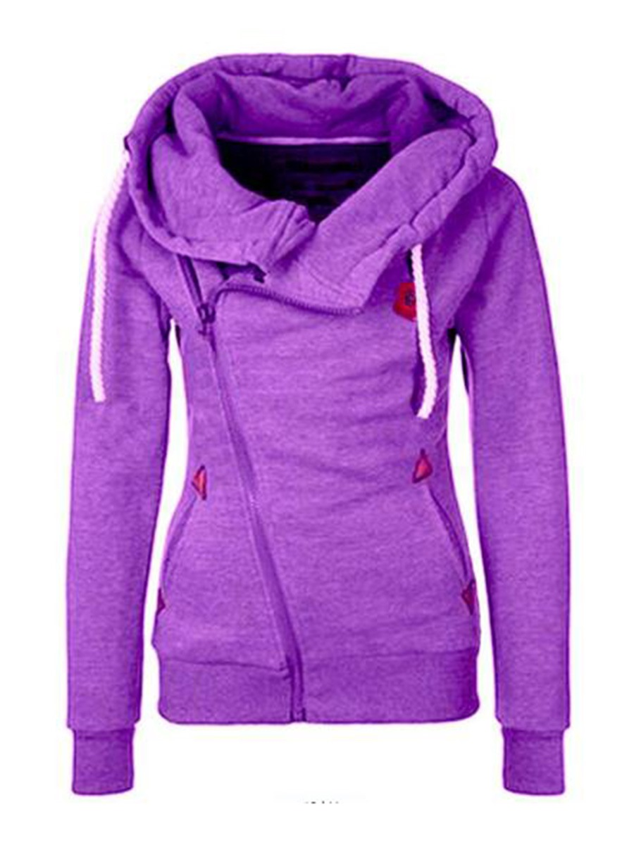 Ericdress Slim Asymmetric Zipper Plain Cool Hoodie
