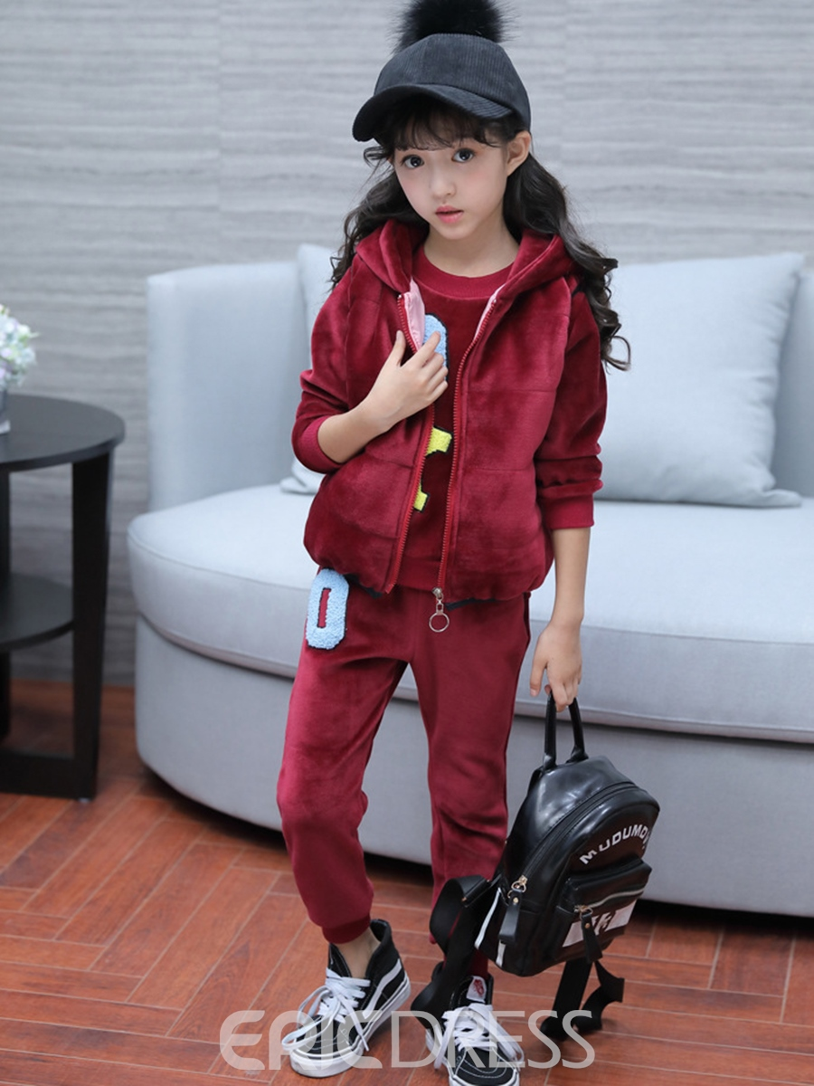 Ericdress Letter Embroidery Velvet Girl's 3-Pcs Outfit