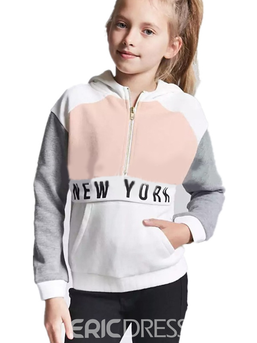 Ericdress Letter Print Color Block Hooded Girl's Sweater