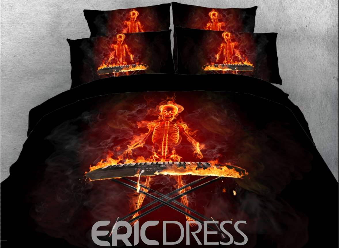 Vivilinen 3D Fiery Skeleton Playing the Keyboard 4-Piece Bedding Sets/Duvet Covers