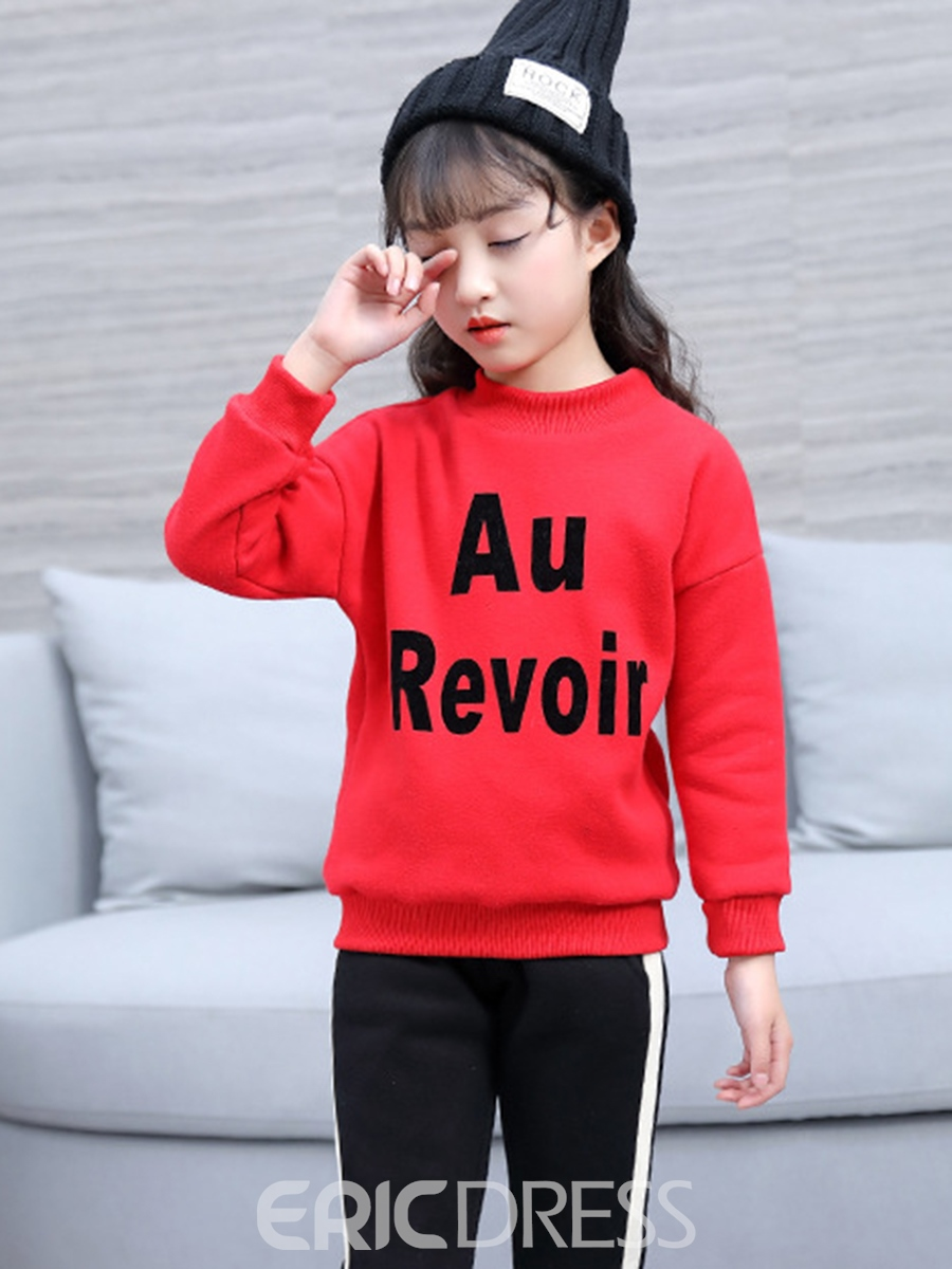 Ericdress Letter Print Long Sleeve Thicken Girl's Sweater