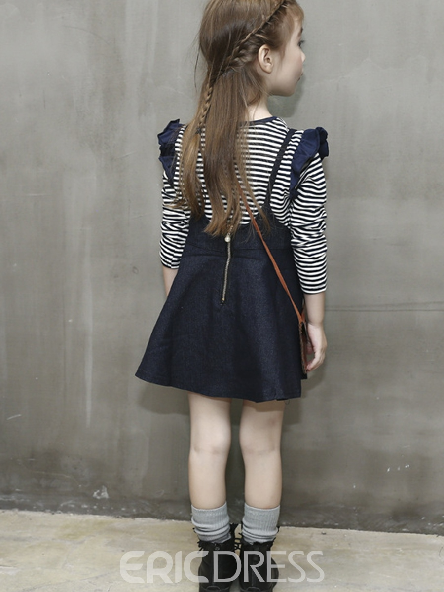 Ericdress Striped T-Shirt With Denim Skirt Girl's 2-Pcs Outfit