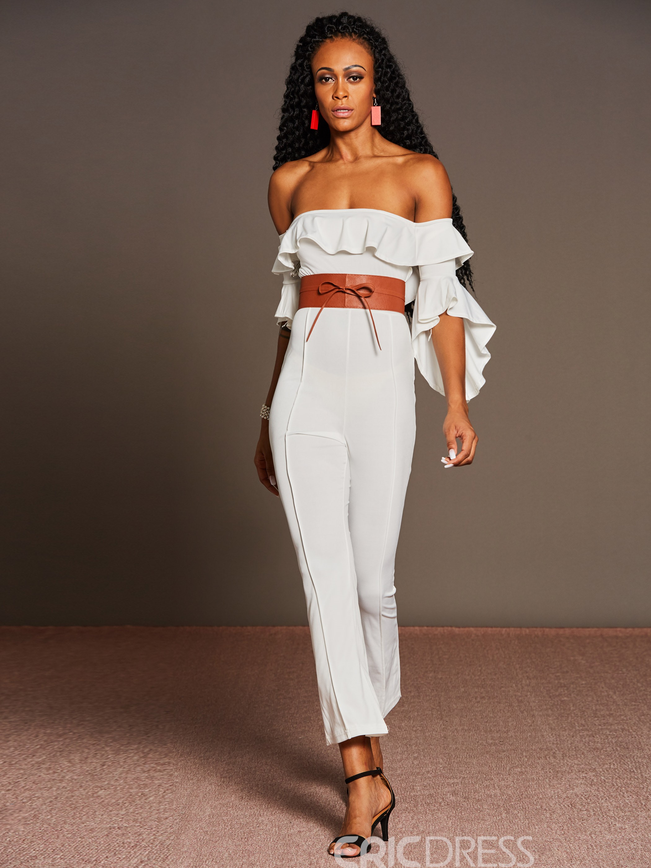 Ericdress Slash Neck Bell Sleeve Belt Women's Jumpsuits