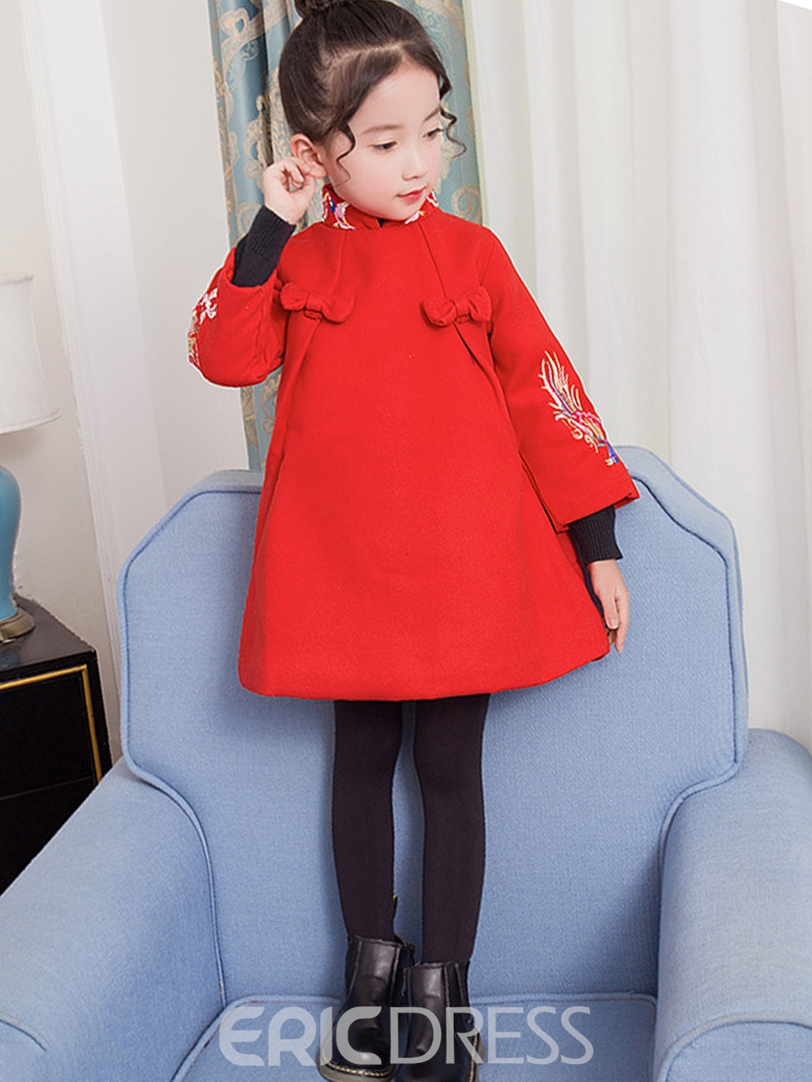 Ericdress Chinoiserie Stand Collar Embroidery Girl's A-Line Dress