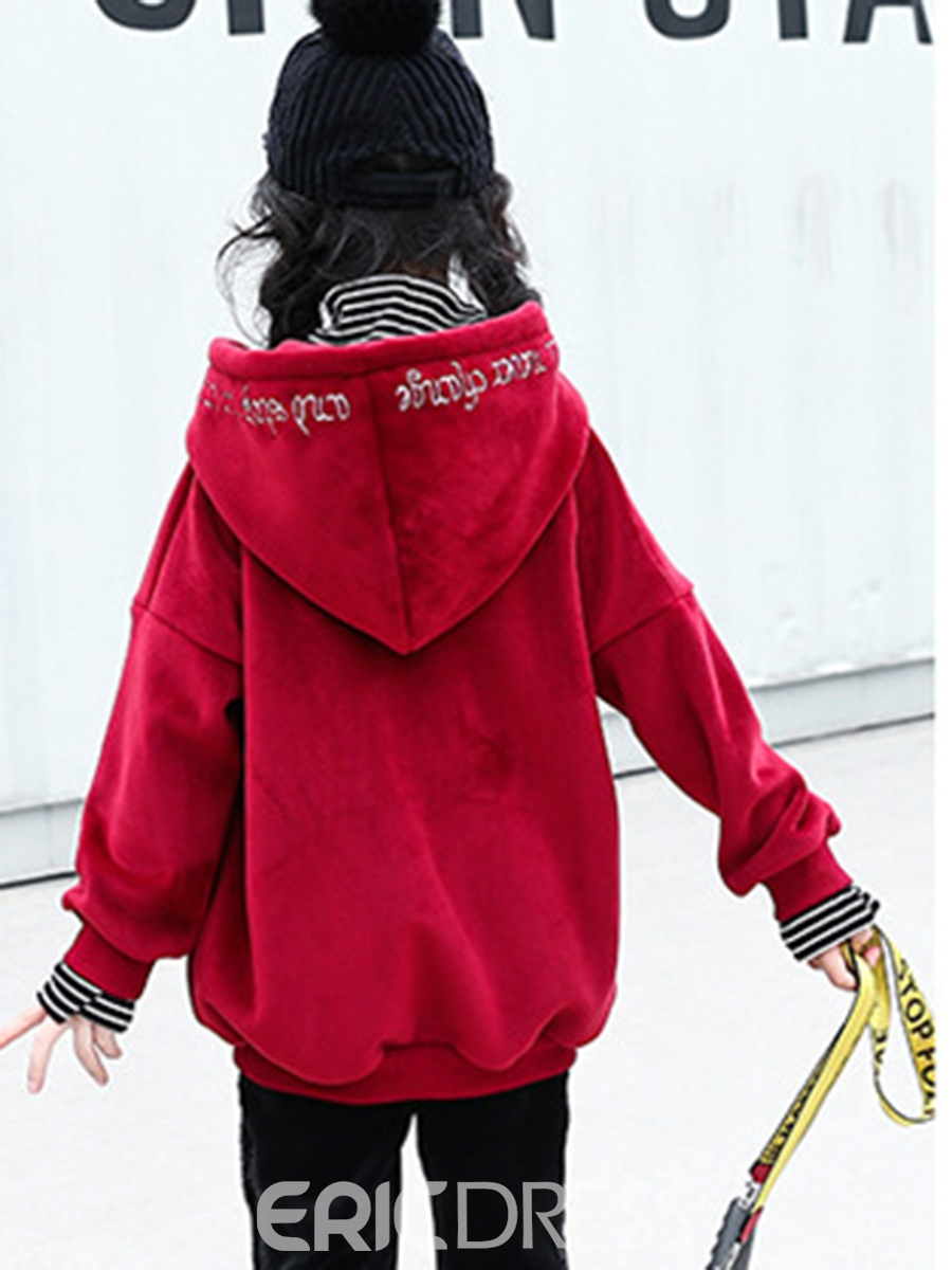 Ericdress Gold Velvet Double-Layer Hooded Girl's Sweater