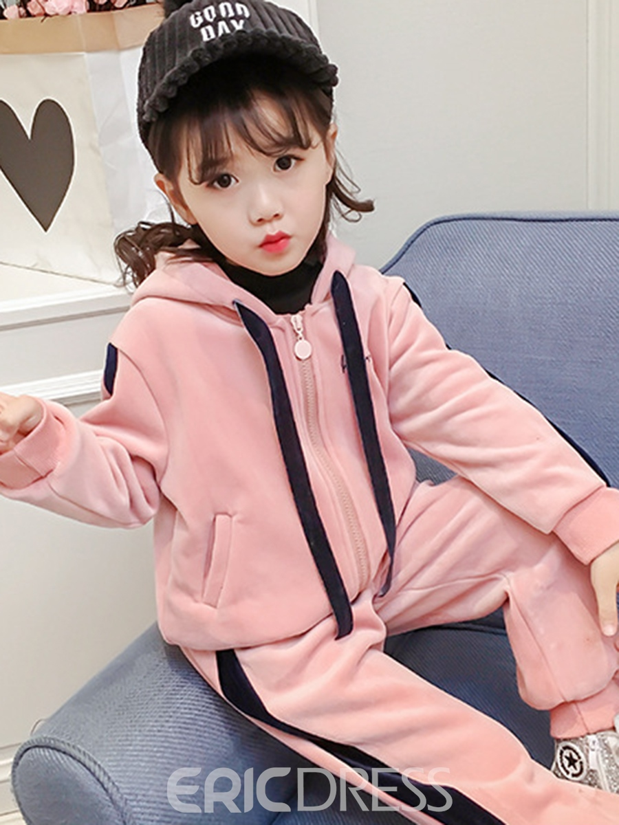 Ericdress Fashion Color Block Thicken Girl's 2-Pcs Outfit