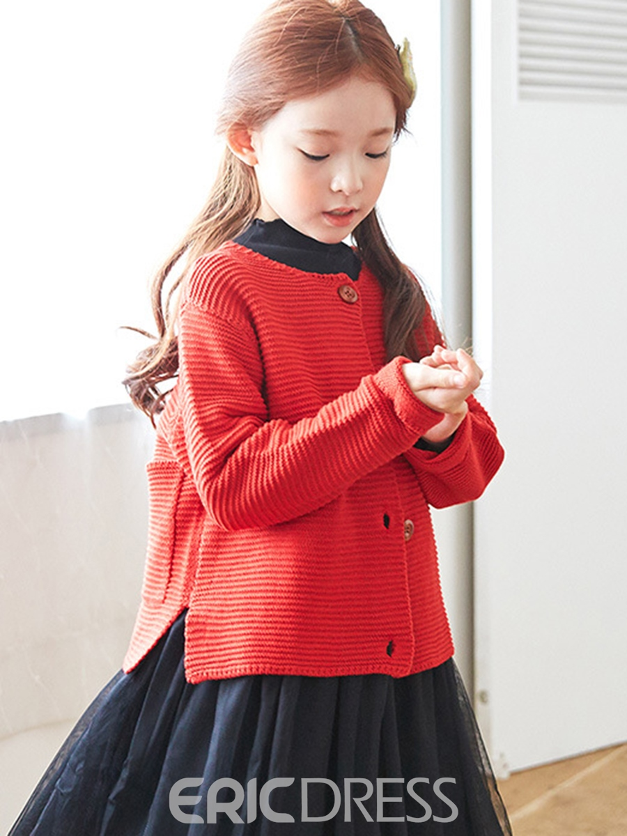 Ericdress Single-Breasted Round Neck Girl's Sweater
