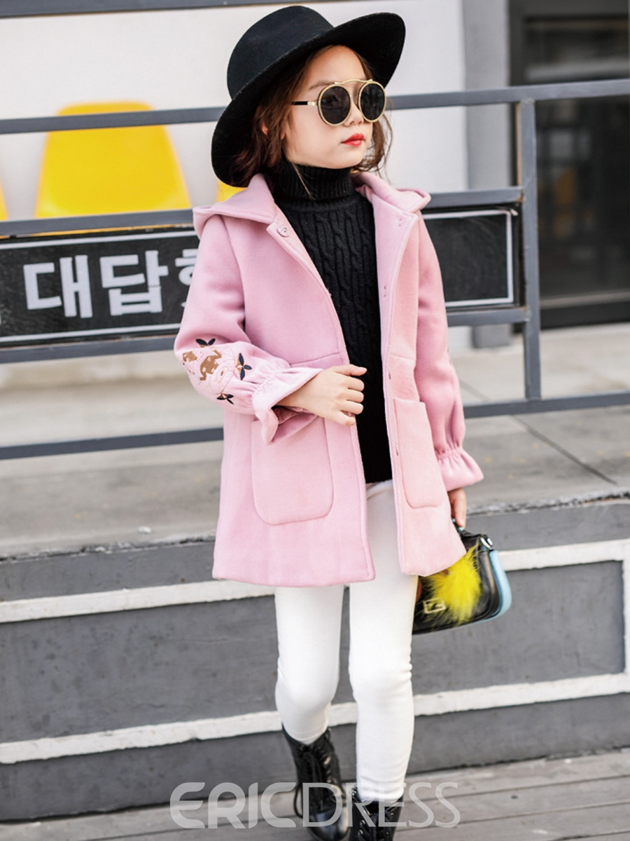 Ericdress Flare Sleeve Hidden Button Hooded Girl's Coat