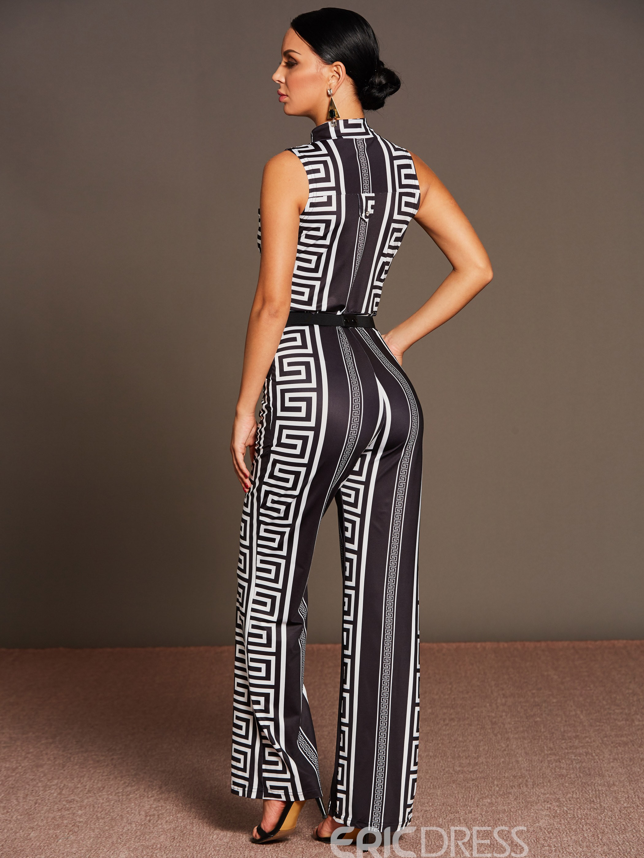 Ericdress High-Waist Patchwork Belt Print Jumpsuits Pants