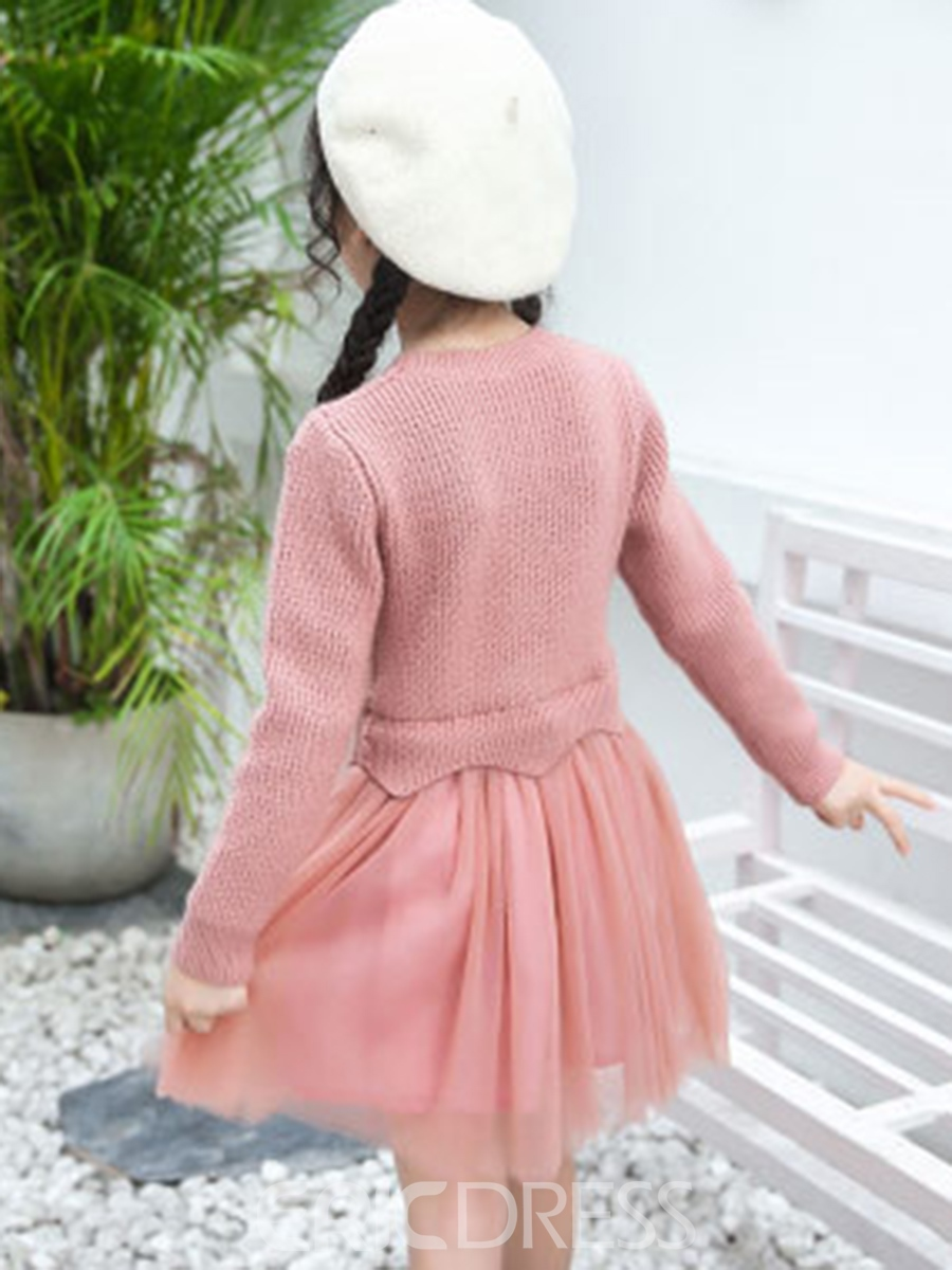Ericdress Long Sleeve Mesh Patchwork Girl's Dress
