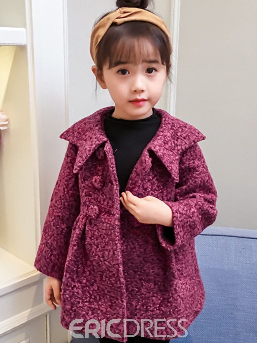 Ericdress Plain Double-Breasted Lapel Girl's Coat