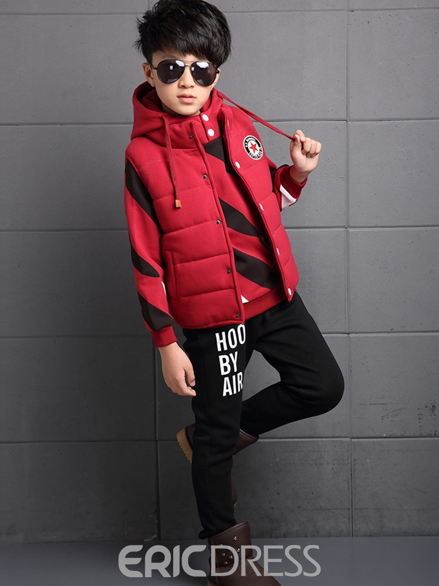 Ericdress Handsome Twill Thicken Boy's 3-Pcs Outfit
