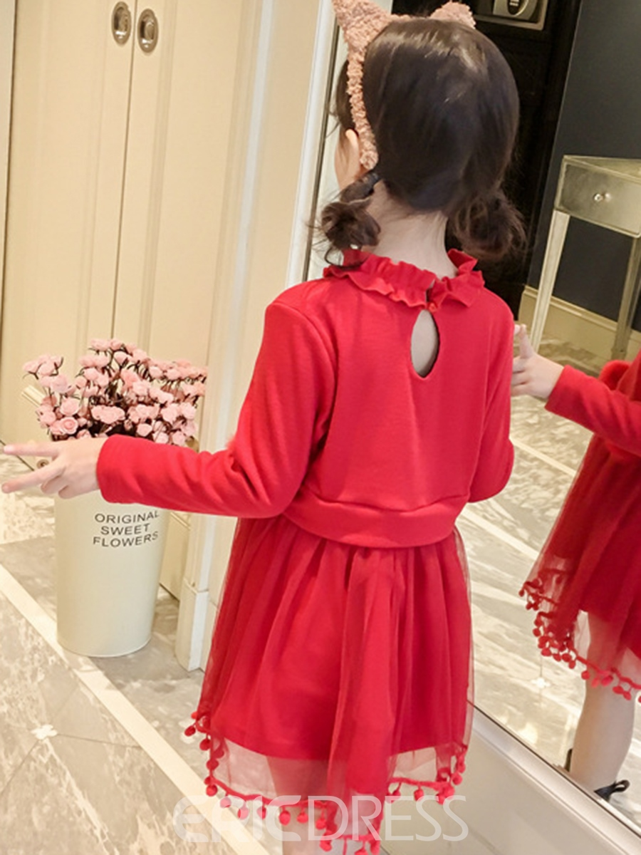 Ericdress Long Sleeve Mesh Patchwork Thicken Girl's Dress