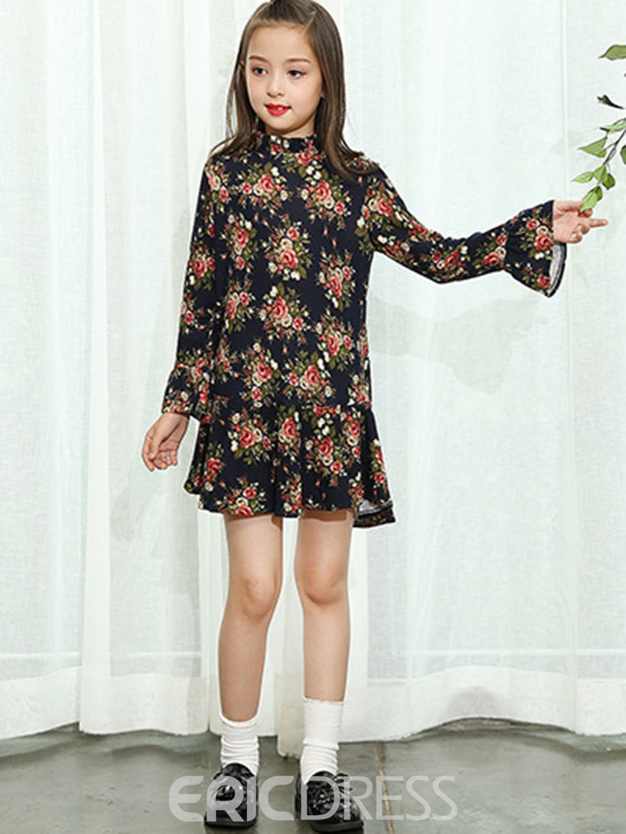 Ericdress Floral Stand Collar Flare Sleeve Girl's Dress