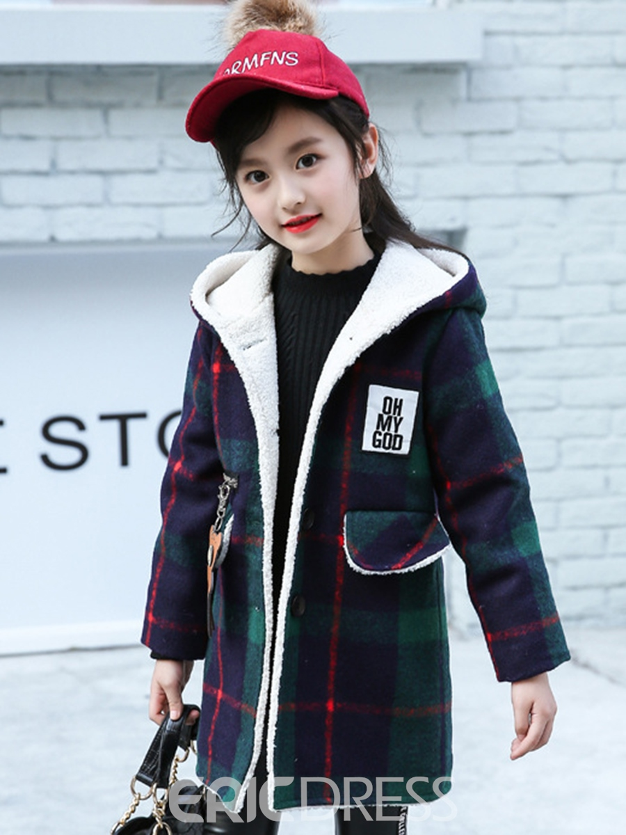 0bef66d4a43 Ericdress Lambswool Plaid Hooded Girls Overcoat