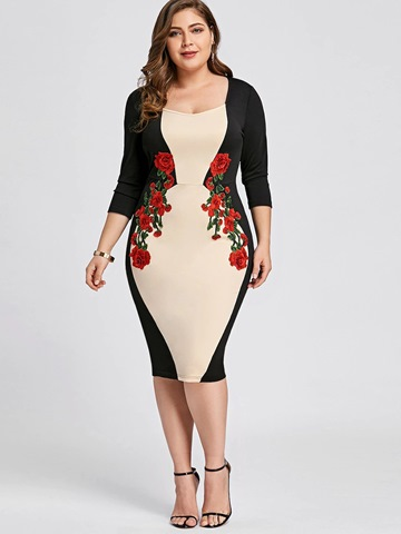 Ericdress Color Block Floral Embroidery Plus Size Women's Sheath Dress